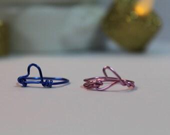 Friendship rings- set of 2 heart rings