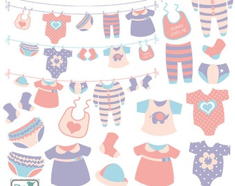 Girl Baby Clothesline clip art, baby clothing, girl announcement, girl baby shower, baby shower, vector EPS - Instant Download