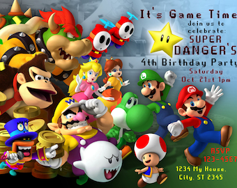 Super Mario Bros. Inspired Personalized Birthday Party DIY Printable Invitation