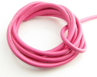 4mm PU pink leather cord, 5 feet