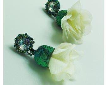 Beige roses, silver studs, statement earrings, flower earrings, fairy tale jewelry, Earrings rose, Satin Flower, fabric jewelry