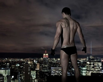 My Town Gay Art Male Art Photo Print by Michael Taggart Photography muscle muscles muscular shirtless underwear warrior hero night skyline