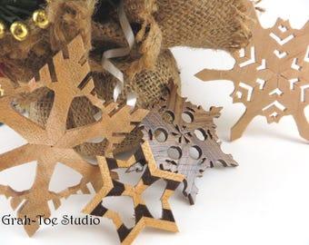 Christmas Ornaments Wooden Snowflakes Decorations Yule Hanukkah Holidays Winter Garland Ornament