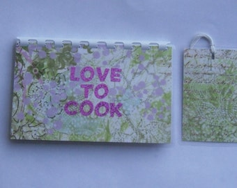 Handmade Pink 'Love to Cook' Blank Recipe book for Your Personal Recipes