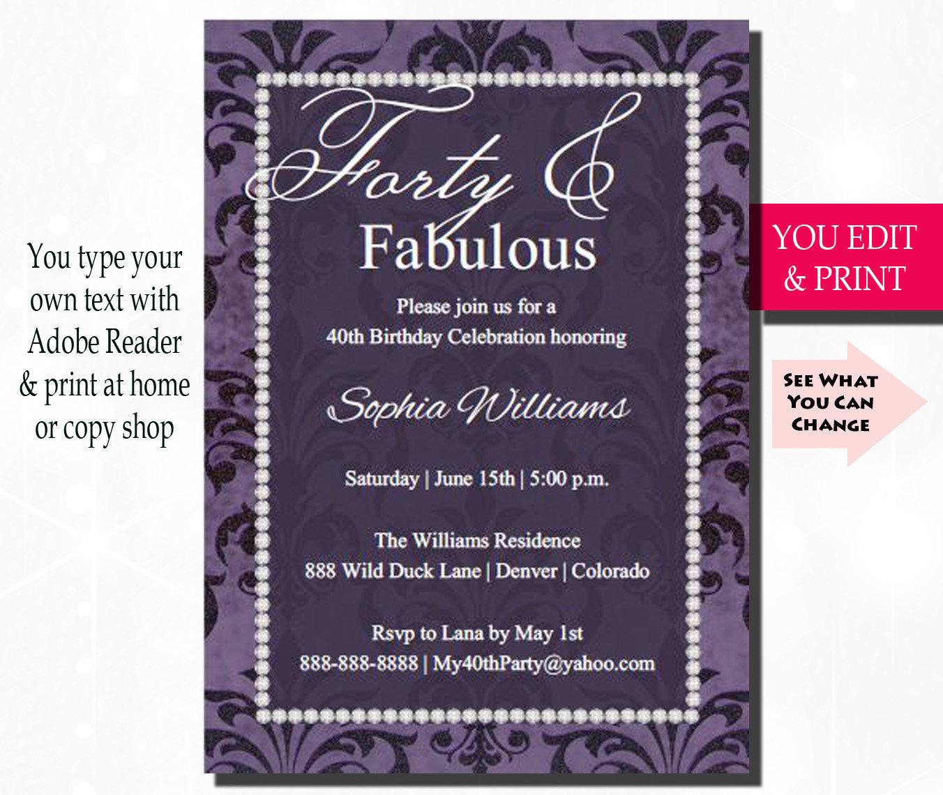 40th Birthday Party Invitation Fabulous Forty Birthday 40th