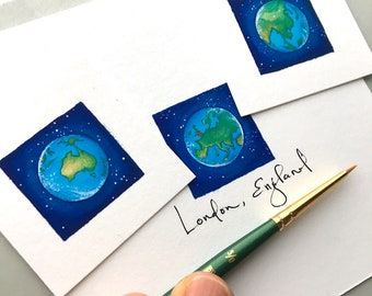 Miniature Art Set, Tiny Giclee Prints of Original Paintings, Europe, North and South America, Africa, Australia and Asia