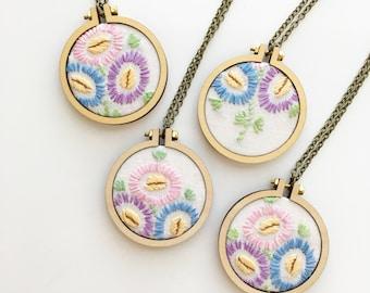 SALE - Vintage Embroidery Hoop Necklace