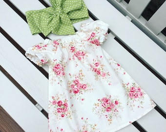 Baby Toddler Girl DRESS cotton red rose floral fabric vintage retro 0-3 months 3-6 months 6-12 months 12-18 months 18-24 months personalised