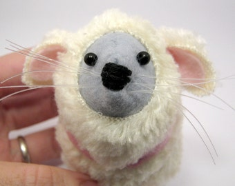 Sheep Mouse - Easter Lamb collectable art rat artists mice cute soft sculpture toy stuffed plush doll ornament gift for nativity - Shaun