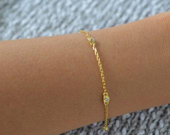 Multi Cz silver bracelet. Silver cz bracelet. Gold Cz bracelet. Rose gold cz bracelet. 2mm cz bracelet.