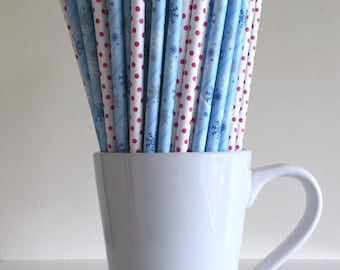 Snowflake and Pink Polka Dot Paper Straws Frozen Party Supplies Party Decor Bar Cart Cake Pop Sticks Mason Jar Straws Graduation
