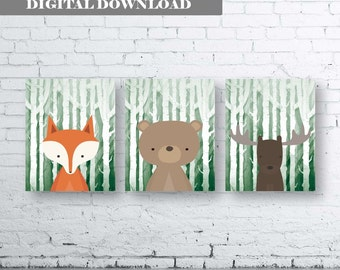 WOODLAND Animals Wall Art Print-Set of Four (4) - Digital Download. Woodland Creatures Wall Art Printable. Forest Friends Printable. Green