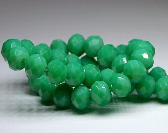12 pcs 10x8 Opaque Pale Green Rondelle Glass Beads OPG-1