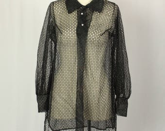 1960s Vintage Black Mesh Blouse. Sheer Tunic Length Vintage Shirt with Sparkle Buttons