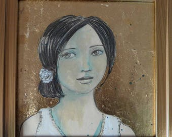 Original drawing, portrait of brunette woman on a background with gold leaf