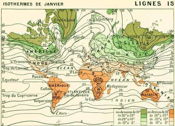 1897 climate antique world map large size larousse print gumiabroncs Choice Image