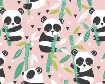 PANDA-RAMA - Bamboo in Pink - Adorable Panda Bear Cotton Quilt Fabric - by Maude Asbury for Blend Fabrics - 101.129.01.2 (W4282)