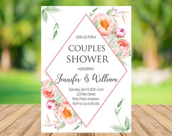 Floral Wedding Shower Invitation Instant Download, Boho Couples Shower Invitation, Elegant Wedding Shower Invite, Engangement Party, PW01