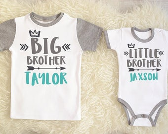 Big Brother Little Brother Set. Personalized Matching Sibling Set. Big Brother Little Brother. Big Brother Announcement. Add Your Names.