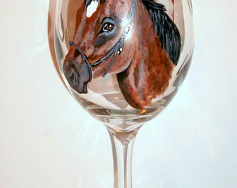 Custom Horse Pet Portrait Donkey Mule Pony Hand Painted Wine Glass One 20 oz Custom Wine Glass Personalized Gift /Made To Order