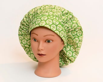 Spring Green Modern Floral Bouffant Scrub Hat
