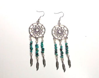 Natural Turquoise Dream Catcher Earrings