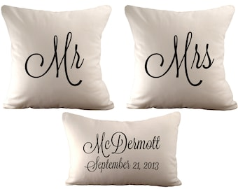 18x18 Mr & Mrs and a 12x18 Personalized  - Set of 3 Cushion Covers - Choose Your Font, Font Colour and Fabric
