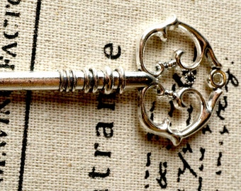 Key charm 3 silver vintage style  jewellery supplies C146