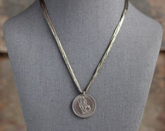 Vintage Liquid Sterling Necklace and Coin Necklace, 1940 Switzerland 2 Franc Coin Necklace, Silver Franc & Liquid Silver Necklace