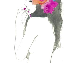 For Fiji, print from original watercolor and pencil fashion illustration by Jessica Durrant