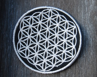 Sacred Geometry Flower of Life Patch Sew on White UV active