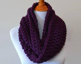 Purple Crochet Scarf, Chunky Infinity Scarf, Knit Infinity Scarf, Crocheted Scarf, Circle Scarf, Eternity Scarf, Loop Scarf, Eggplant Scarf