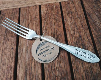 """Hand-stamped vintage fork//""""May the fork be with You"""""""