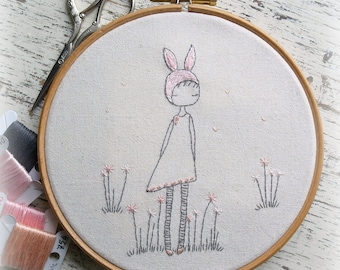 spring bunny girl hand embroidery pattern pdf