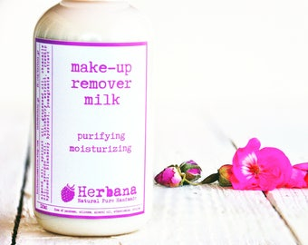 Makeup Remover Lotion- Natural - Eye Make-Up Remover for All Skin Types, Natural Demakeup, Face Cleanser, Facial Care by Herbana Cosmetics