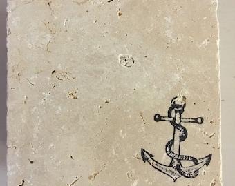 Navel anchor stone coaster set