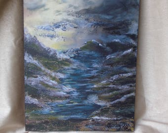 River flowing through the Mountains - Original Acrylic painting on Stretched Canvas