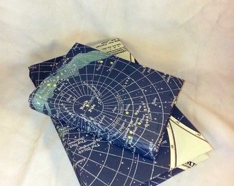 Astronomy Stars Handmade Book Diary Journal Notebook Sketchbook North South Star Space Milky Way Constellation Solar System NASA Moon Sun
