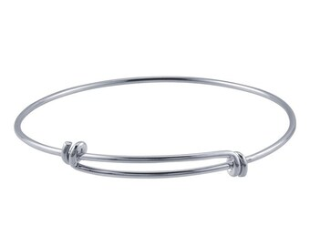 Expandable/Adjustable Charm Bangle Bracelet - Silver Plated w/E Coating