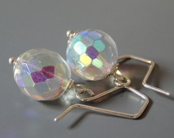 April birthday earrings, crystal quartz earrings, rainbow quartz and sterling silver