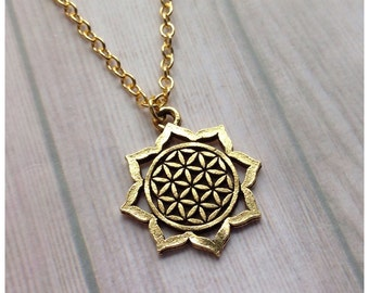 Flower of Life necklace, seed of life, sacred geometry, boho, bohemian