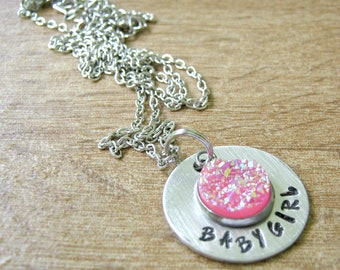 Babygirl Druzy Necklace, Hot Pink Druzy Pendant, Daddy's Baby girl collar tag, Babygirl pendant, Babygirl Necklace, DDlg collar tag