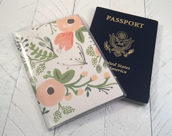 PASSPORT COVER - Wildflower Peony Paper by Rifle Paper Co - Dusty Rose Peach Floral - Gift for Traveler - Vinyl Passport Holder