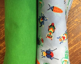 Colorful Bugs/Green Large Flannel Receiving Blankets - Set of 2