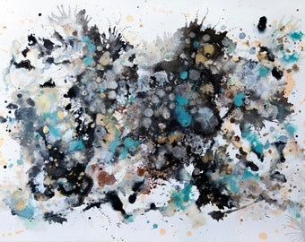 Abstract Painting - Contemporary Art - Alcohol Ink and Acrylic on Canvas - 24 x 36 Inches - Gravel
