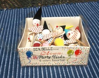 Vintage Sea Belle Brand Spun Cotton Clown Party Picks – Birthday Party Favors - Lot of 15