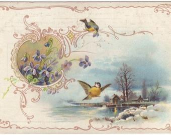 German christmas postcard - Snowy landscape with village, birds, violets, victorian card - Antique art nouveau postcard - ca 1900 (A216)