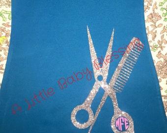 Custom Hairdressers tank Scissors Comb Monogram