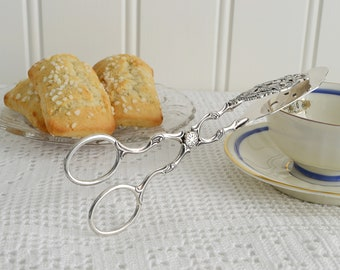 Delicate cookie tongs, vintage serving utensil, pastry and sandwich server