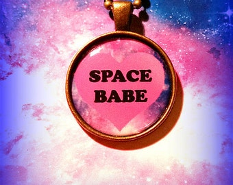 Space Babe Galaxy Pastel pendant necklace 90s fashion Pastel Goth Soft Grunge